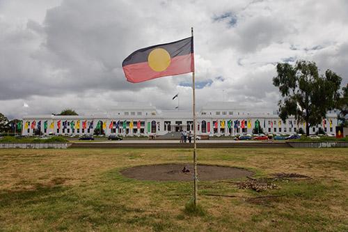 Aboriginal Flagge bei der Tent Embassy