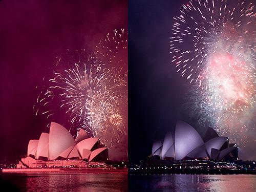 Feuerwerk bei der Oper