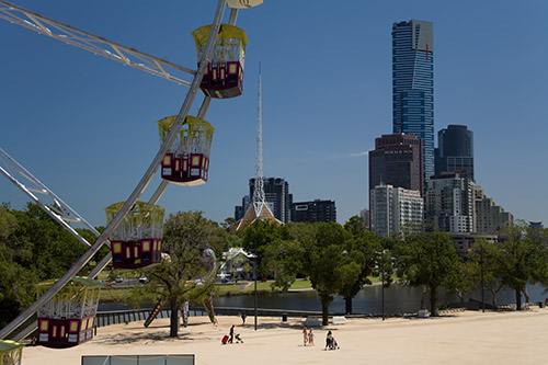 Skyline von Melbourne (allerdings nicht am morgen, sondern etwas später am Tag)