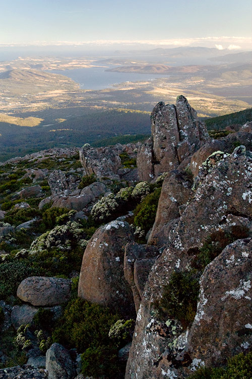 Hobart von Mount Wellington aus gesehen